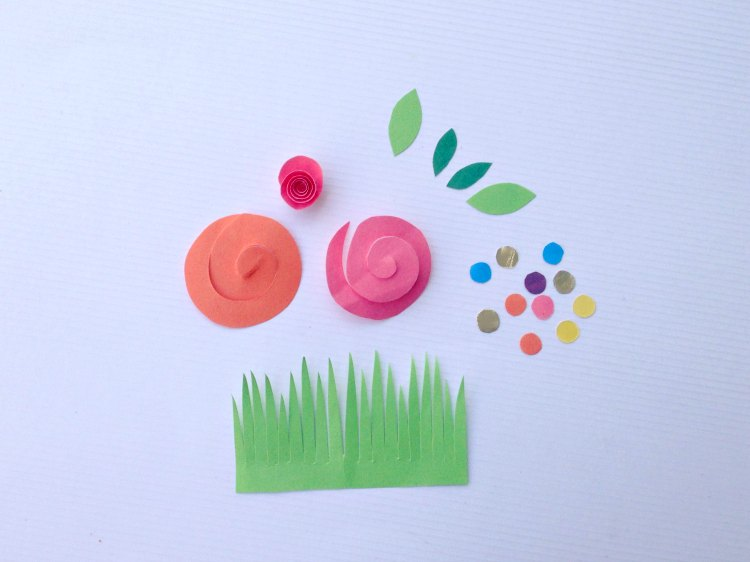 Easter treat box spiral flower, leaf, grass and circle cut outs Tutorial at DearCreatives.com