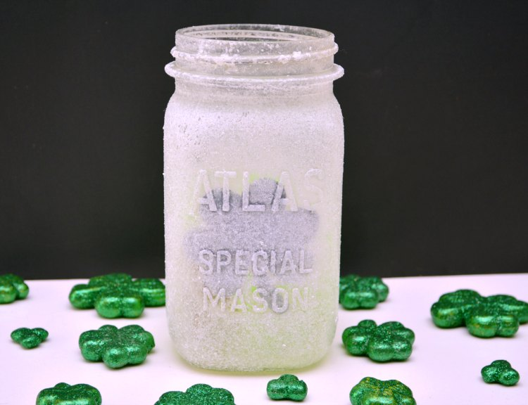 mason jar craft frosted luminary made for St. Patrick's Day home decor