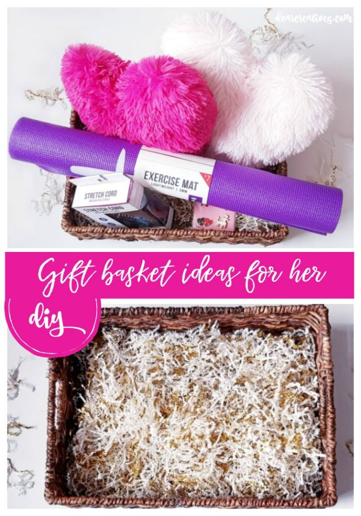 Gift Basket Ideas For Her You'll love making your own Valentine's Day or other occasion gift baskets. Easy, and affordable with these ideas. See them all at DearCreatives.com #giftbaskets #diy #Valentinesday #giftideasforher