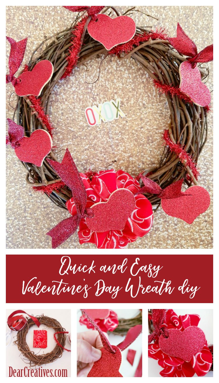 Quick and Easy Valentine's Day Wreath With Glittered Hearts