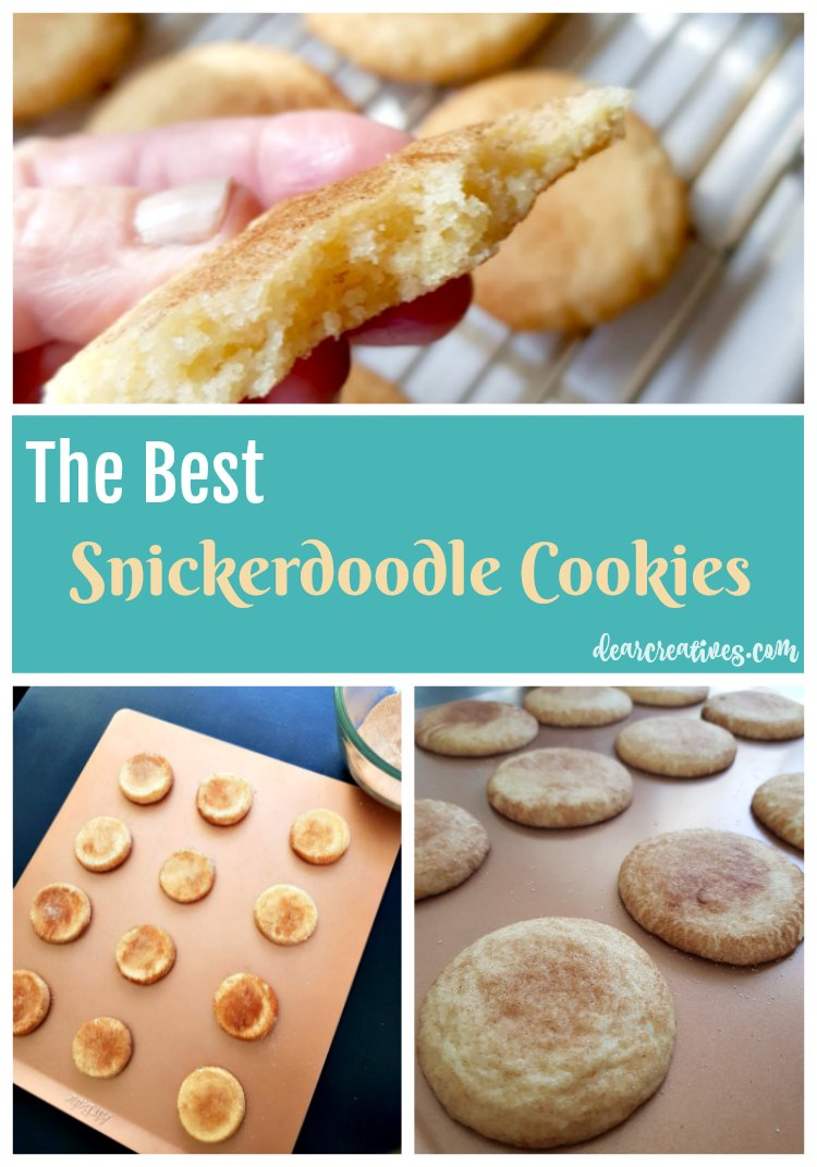 Snickerdoodle Cookies Recipe This is an easy cookies recipe, and can be used for any occasion, or party. They store well, and can be made in advance. They are rolled in sugar, and cinnamon to make the perfect dunking cookies. Make a batch now. Grab the recipe #snickerdoodles #snickerdoodlecookies #cookies DearCreatives.com