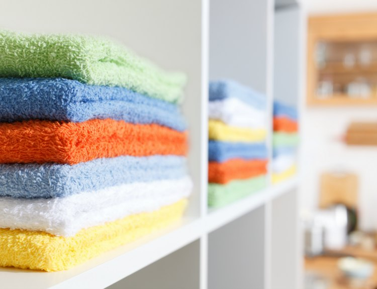Stack of towels in the linen closet