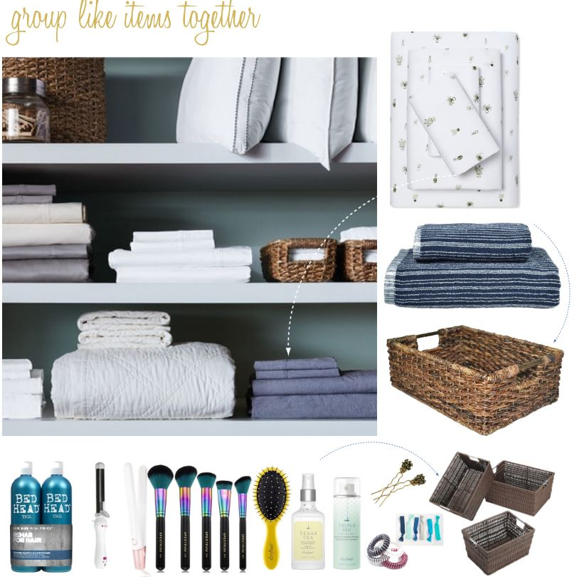 When organizing a linen closet group like items together, use baskets to organize beauty products or small items See more home organization tips at DearCreatives.com.JPG