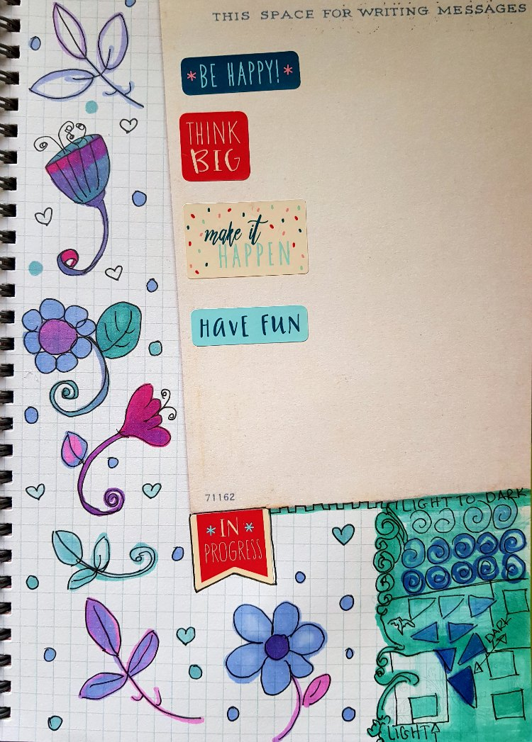 journal page flowers, stickers, and testing out chameleon pens