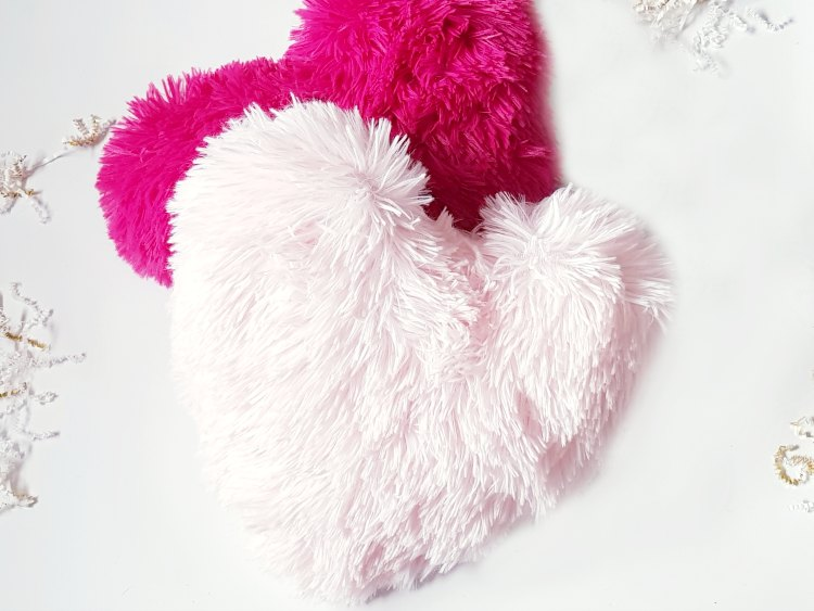 pink heart faux fur throw pillows