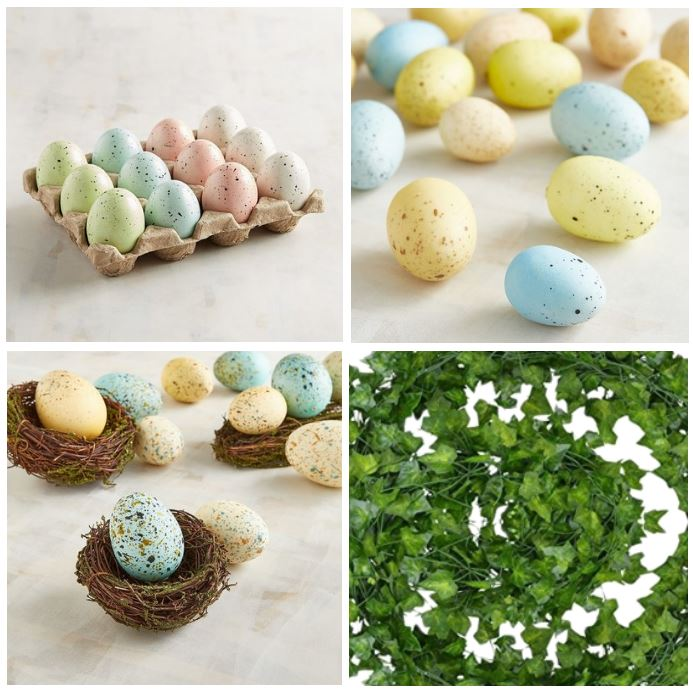 spring craft supplies for making centerpieces, speckled eggs, and floral supplies