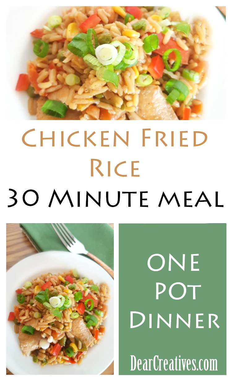Chicken Fried Rice Chicken Fried Rice ia a one pot meal made in 30 minutes. Fresh vegetables, chicken, and rice. A kid friendly, family dinner. You'll want to try this easy recipe at DearCreatives.com #chicken #dinner #rice, #onepotmeal #30minutemeal #stirfry #chickenfriedrice