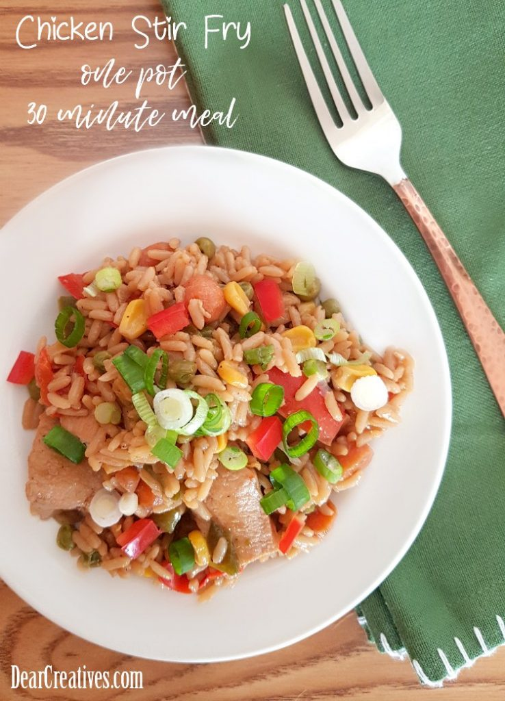Chicken Vegetable Stir Fry One Pot Meal | This easy dinner ideas is made in 30 minutes, and will be a big hit with your family. It's so easy to make for busy weeknights. #chicken #easychickenrecipes #stirfry #onepotmeals #30minutemeals DearCreatives.com