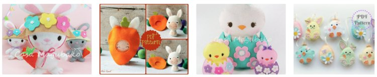 Cute bunny, and chick Easter patterns for crafting. We picked the best easy craft patterns to try. DearCreatives.com