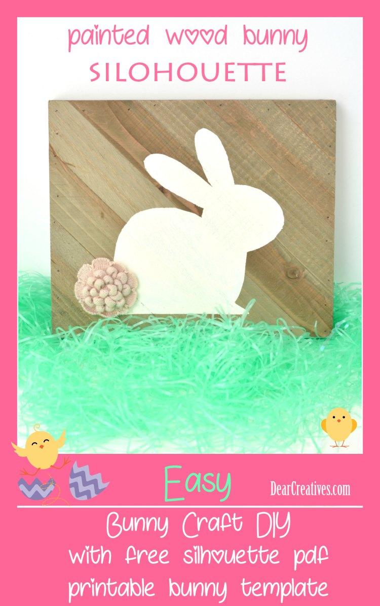 Painted Wood Bunny Silouhouette with free PDF printable template. DearCreatives.com #crafts #bunny #bunnytemplate #Easter #spring