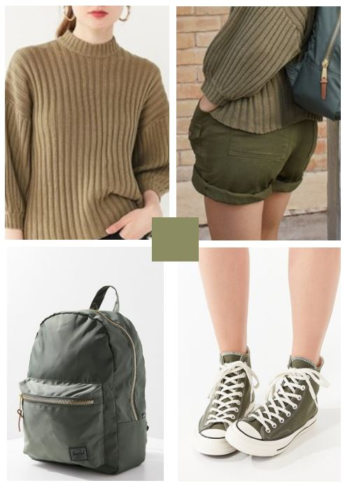 cargo shorts, slouchy sweater, converse all star high top sneakers with a backpack in olive