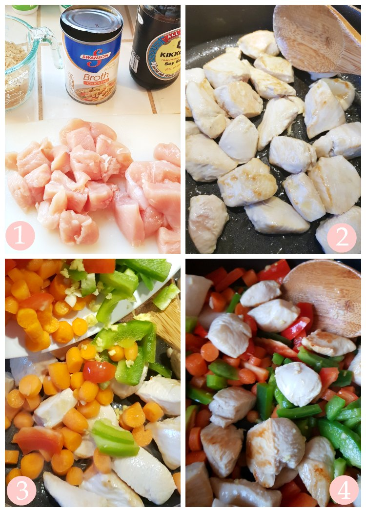 chopped red, and green bell peppers, minced garlic, and ginger for a homemade chicken stir fry with vegetables DearCreatives.com