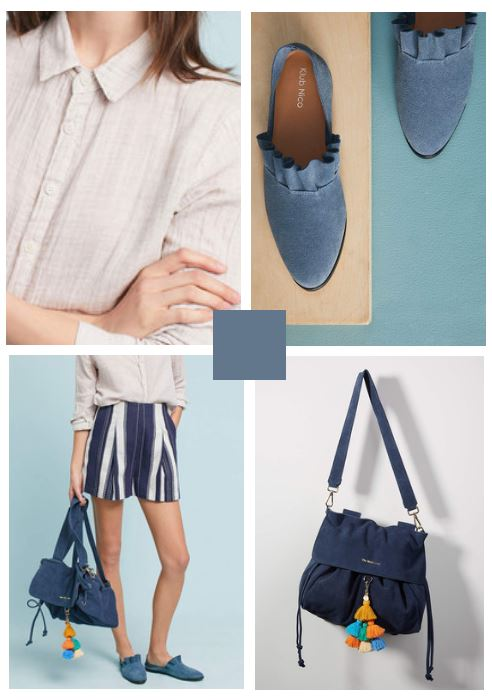navy and white striped shorts, blue suede shoes, neutral button shirt, and navy bag