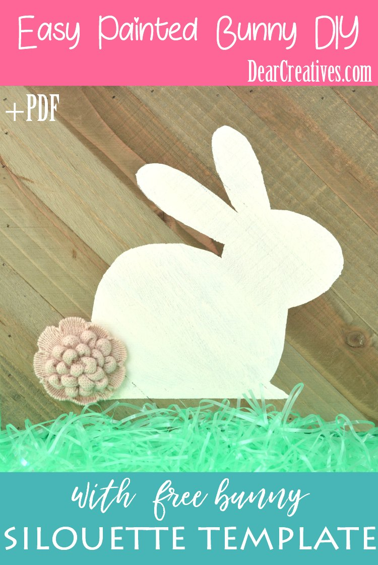 painted wood bunny silohouette DIY with PDF to create your own cute bunny painted on wood. Give it any type of cotton tail you like. See how easy this bunny craft is. DearCreatives.com #bunny #craft #diy #shilohouette #bunnytemplate