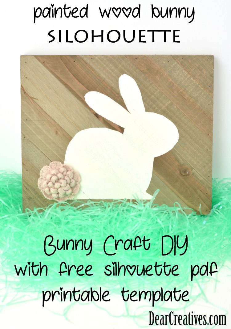 painted wood bunny silohouette - bunny craft- Easter bunny craft- spring craft idea DearCreatives.com
