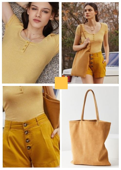 short, and tee shirt with slouchy bag mustard color