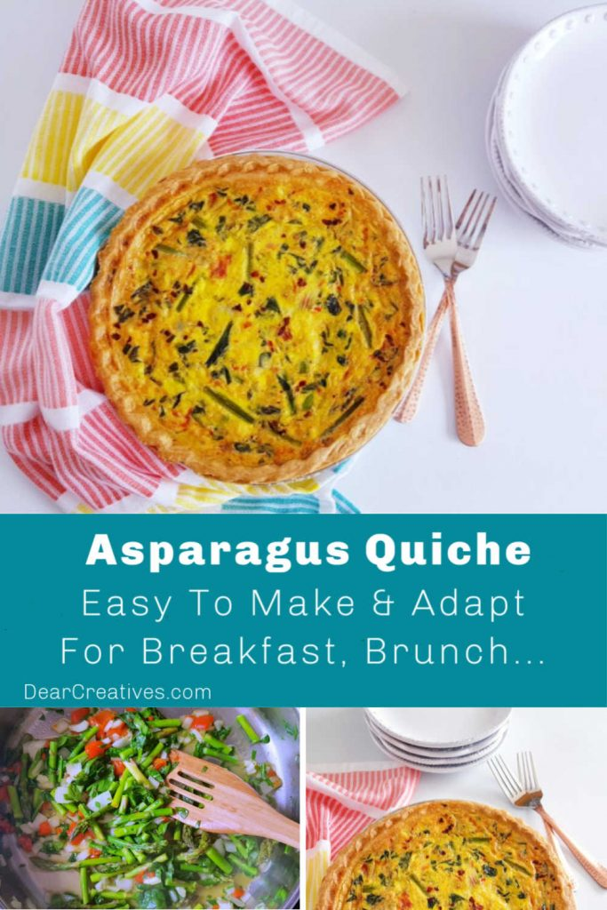 Asparagus Quiche- This quiche recipe with asparagus is easy to make and adapt. Use homemade or store-bought crust. Great for breakfast, brunch, lunches... DearCreatives.com