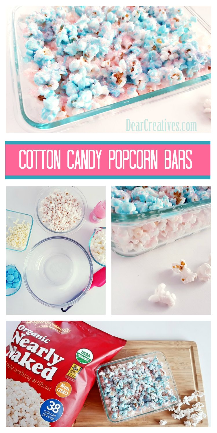 Cotton Candy Popcorn Bars an easy treat for any celebration. See how to make this treat recipe and more ideas for your popcorn treats. DearCreatives.com