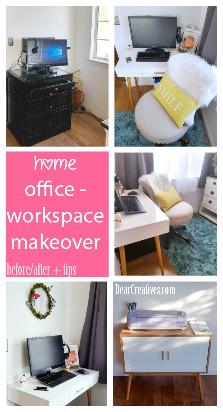 Do you have a small space or shared space but, want to create the perfect office. You need to see this before-after home office workspace, craft space makeover. DearCreatives.com #homeoffice #officeforher #homedecor #homemakeover #DIY #office #smalloffice #corneroffice #craftroom #workspace