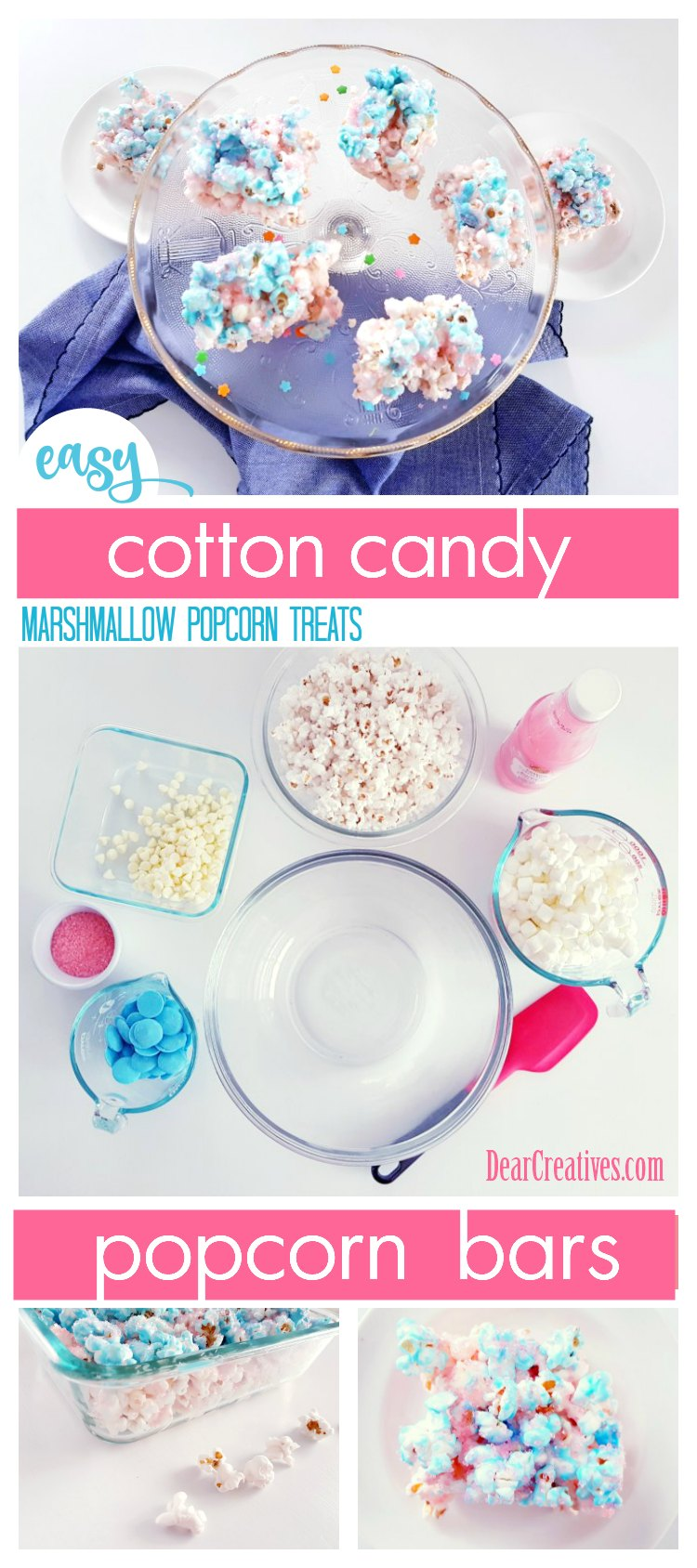 Marshmallow Popcorn Bars This is a cotton candy popcorn bars recipe. It's easy to make. just melt, and stir in add to dish. Cut up for serving. A sweet treat for any party or celebration. Grab recipe, and see how to make these popcorn treats. #popcornbars