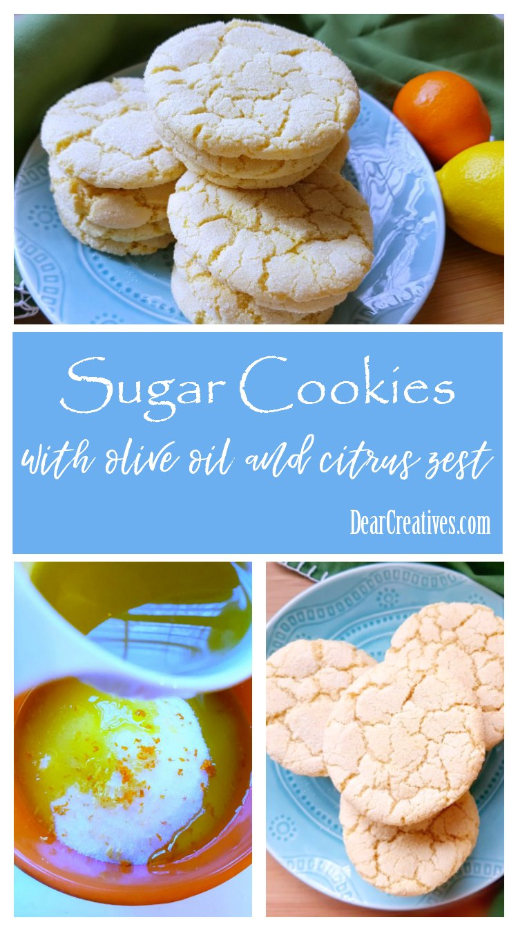 These sugar cookies taste so good. If you love citrus you'll love this easy olive oil sugar cookies recipe with lemon and orange zest. A must try recipe! DearCreatives.com #sugarcookies #cookies #oliveoilsugarcookies #FlavorYourLife #momsmeet #sponsored