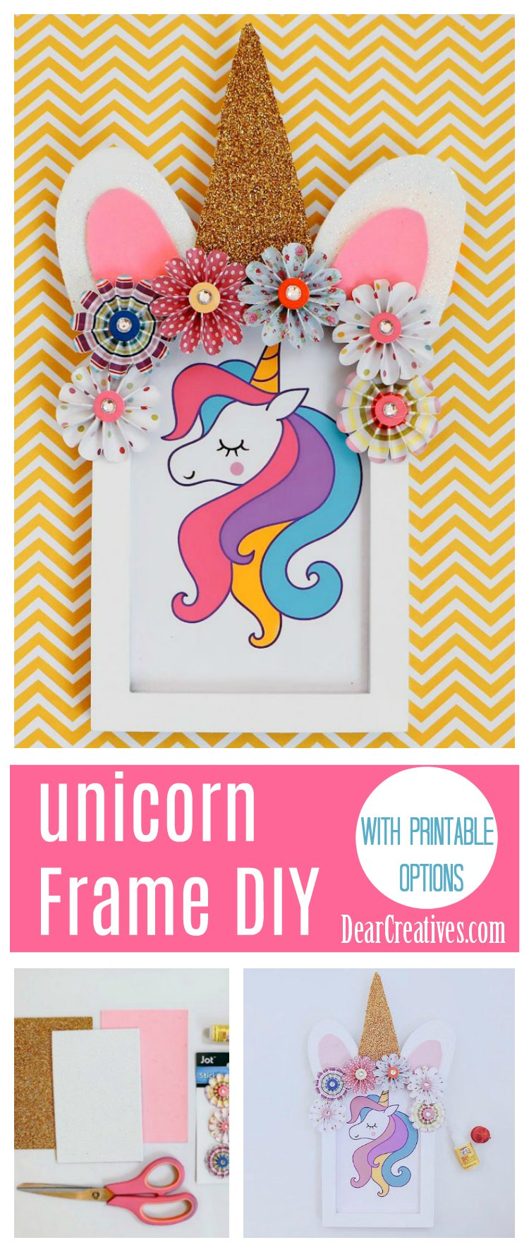 Unicorn Frame DIY is an easy unicorn crafts idea that is done with paper crafts, a frame, and a unicorn print. See how to make, and decorate. DearCreatives.com #unicornframecraft #unicorncrafts #easyunicorncrafts