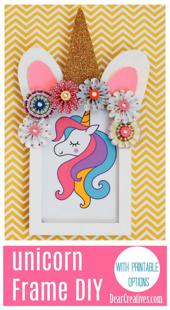 Unicorn frame Diy This is an easy kids room decor idea or use it for a unicorn themed kids party. See this unicorn craft idea, and more unicorn crafts at DearCreatives.com #unicorncrafts #crafts #unicorn #unicornpartyidea #unicorncraftideas