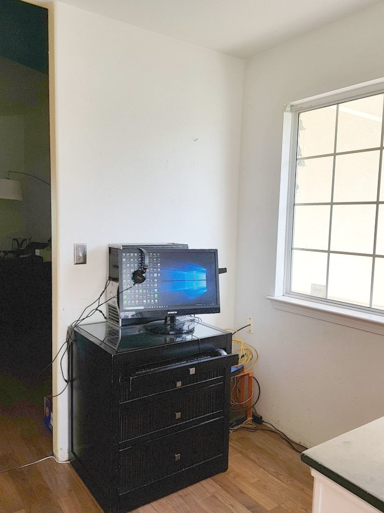 before ugly small office space, computer desk and set up. home decor ideas © 2018 Theresa Huse
