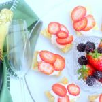 Strawberry Tarts - groceries from grocery outlet for strawberry puff pastry tarts with a strawberry cream cheese topping. DearCreatives.com appetizer wine pairing © 2018 Theresa Huse