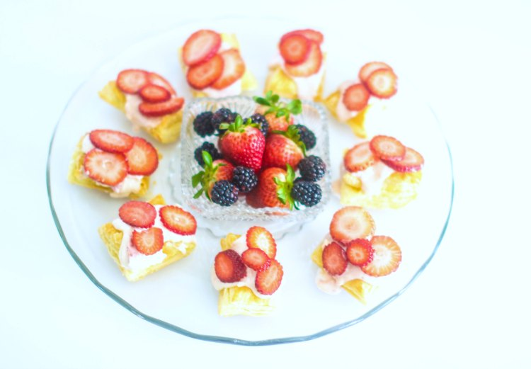 strawberry tarts made with puff pastry. appetizer wine pairing DearCreatives.com