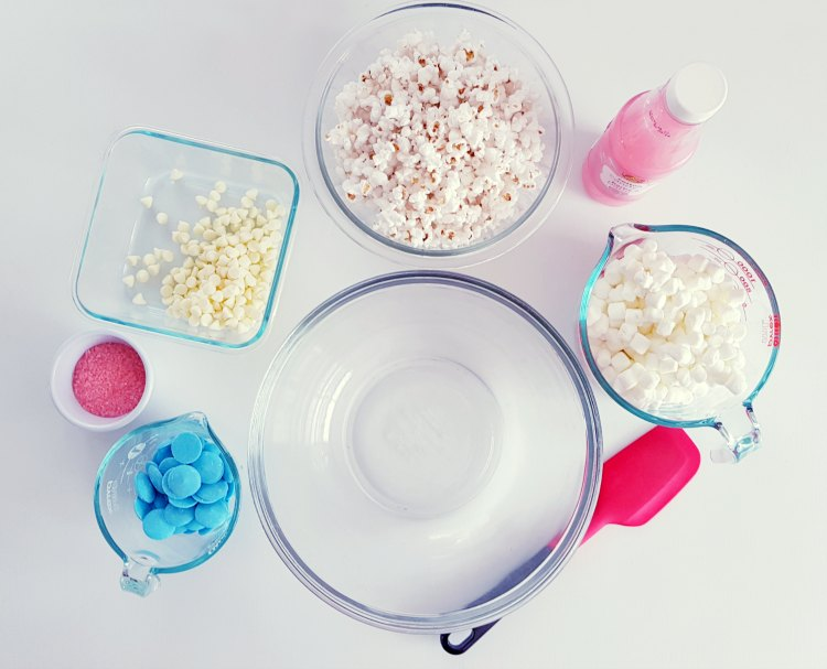 supplies for making cotton candy pop corn bars © 2018 DearCreatives.com
