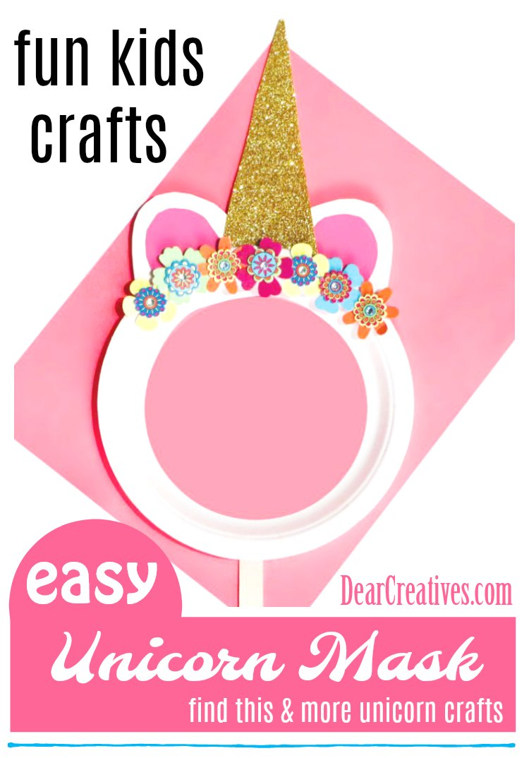 Are you looking for crafts for kids We have a fun kids craft using a paper plate. Make this easy paper plate unicorn mask. See how easy it is to make at DearCreatives.com