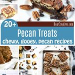 Coffee Pecan Treats you'll love making all these delicious, easy to make treat recipes with pecans. From pecan pies, to coffee cake with pecan crumble toppings, banana bread with pecans, and even pecan bars, and cookies. Grab a treat recipe DearCreatives.com #pecan #treats #desserts