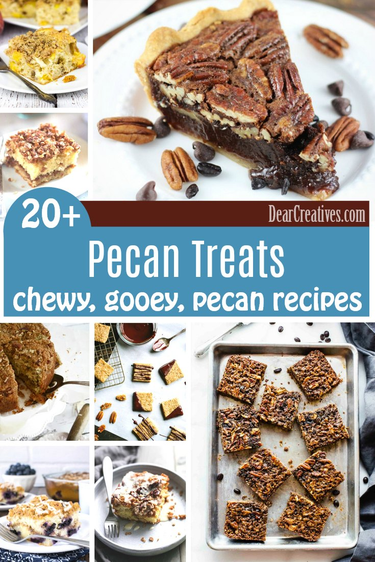 Pecan Desserts-Coffee Pecan Treats you'll love making all these delicious, easy to make treat recipes with pecans. From pecan pies, to coffee cake with pecan crumble toppings, banana bread with pecans, and even pecan bars, and cookies. Grab a treat recipe DearCreatives.com #pecan #treats #desserts