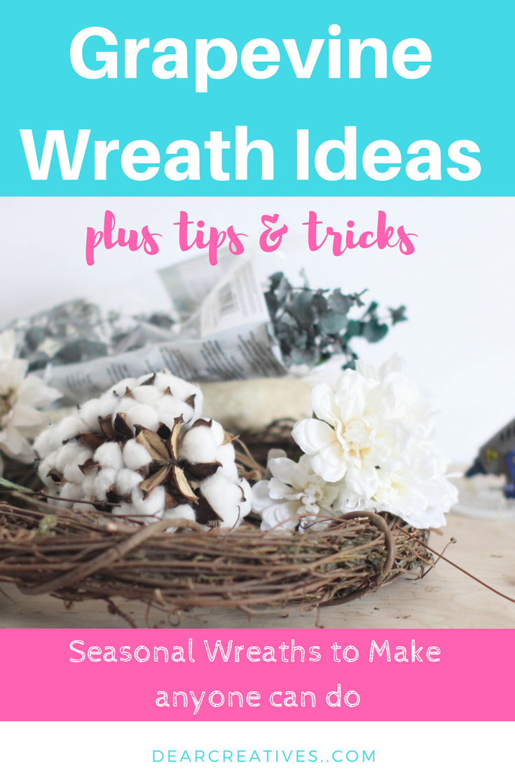 Grapevine Wreath Ideas Try our seasonal wreath ideas, and see how to make homemade wreaths. Create your own wreath with these easy tips, and tricks. Step by step DIYs how to decorate a wreath. DearCreatives.com