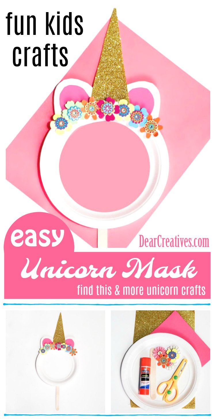 Are you looking for unicorn crafts to make? Or fun kids crafts? You'll want to see them all. My favorite paper plate craft is this unicorn mask diy to make with the kids. See them all at DearCreatives.com #unicorncrafts #kidscrafts #funkidscrafts