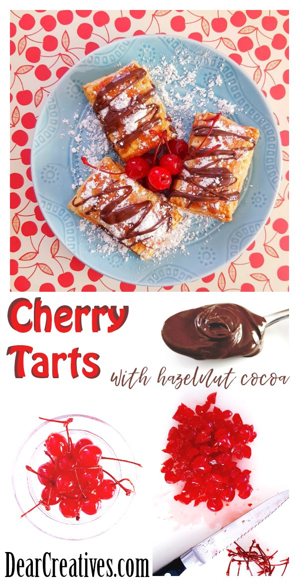 Cherry Tarts with cherry filling, hazelnut with cocoa, and topped with confectioners sugar, and hazelnut spread drizzle. See how easy this dessert is to make. It's to die for! DearCreatives.com #cherry #puffpastry #hazelnut #cocoa #treat #recipe #dessert