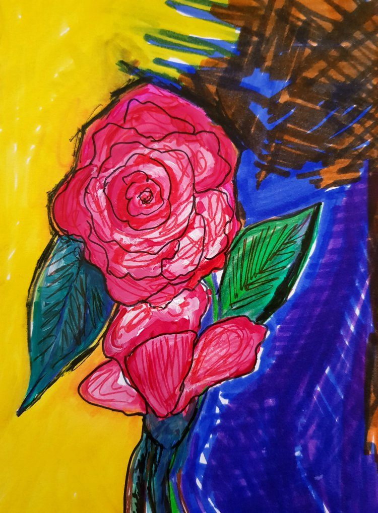 How to paint a rose. First outline, next use color pencils, and markers, next follow paint steps. See how at DearCreatives.com #drawing #art #journal #rose