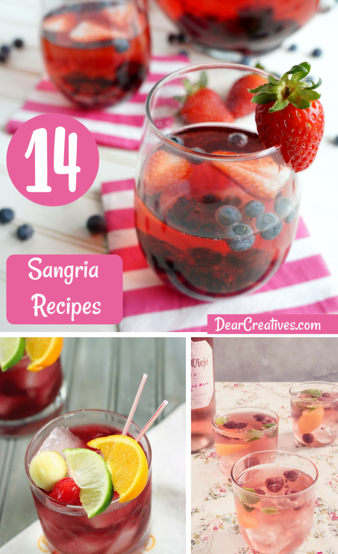 14 Sangria Recipes for Entertaining Use these fruity sangria recipes for a brunch, backyard entertaining or bbq. Easy sangria recipes. DearCreatives.com