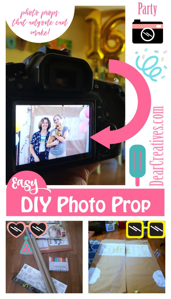 DIY photo props. These are back drops, and photo booth props that anyone can make. Easy, and inexpensive ideas for taking your party and group photos. DearCreatives.com #photoprops #party #birthday #backdrops #photoboothprops #partyideas #diy #easy
