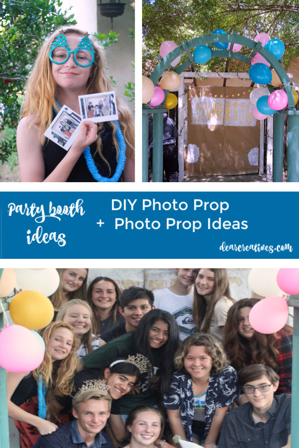 Photo Booth Props + DIY Photo Booth, and photo prop ideas. These are ideas anyone can make, and do for a party, sweet 16 party, wedding or other celebration. See all the tips, and how to at DearCreatives.com #photoboothprops #photopropideas #photoprops #photoideas #photobooth