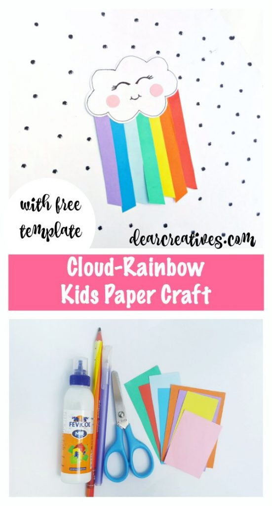 Cloud-Rainbow kids paper craft with free template. Easy to make kids crafts to help them learn cutting, gluing, and their colors. Grab free template and instructions at DearCreatives.com #kidscrafts #kidspapercrafts #papercrafts #rainbow #cloud #kawaii #fun #easy #freetemplate #artsandcrafts