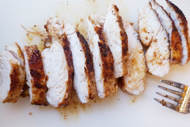 Cooked sliced boneless chicken breast for chicken salad. DearCreatives.com