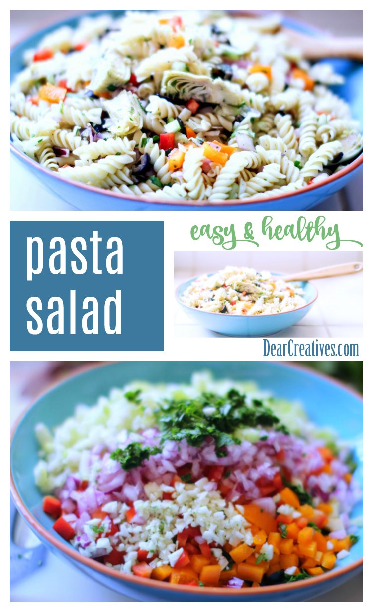 Easy pasta salad recipe that is healthy, and vegetarian. 30 minute recipe. Perfect for pot lucks, picnic, or backyard barbecues. This side dish is a winner! DearCreatives.com #pasta #salad #sidedish #pastasalad #recipe #healthy #vegetarian #easy