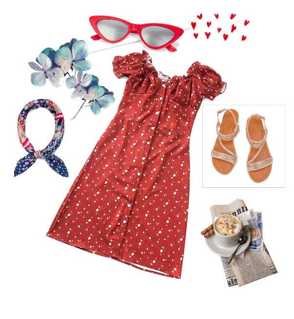 Calico dress, cat eye glasses, bandanna and sandals are red hot outfit ideas for end of summer or early fall.