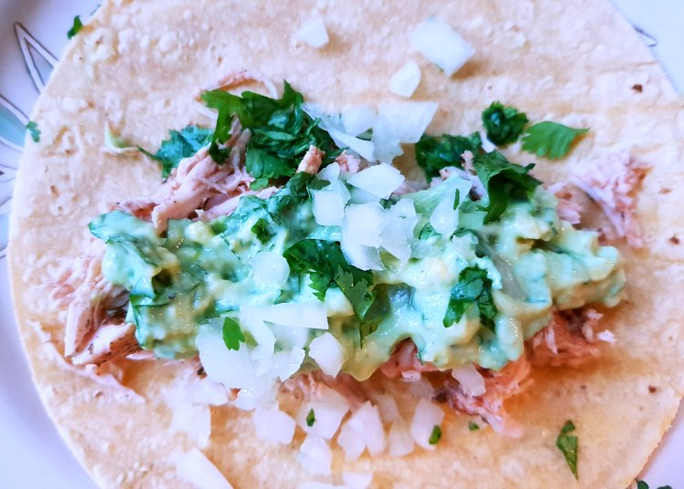 Corn tortilla with shredded chicken avocado topping, cilantro and chopped white onions on a plate. DearCreatives.com