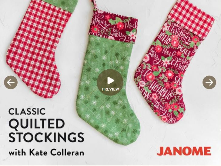 Craftsy class quilted Christmas stockings