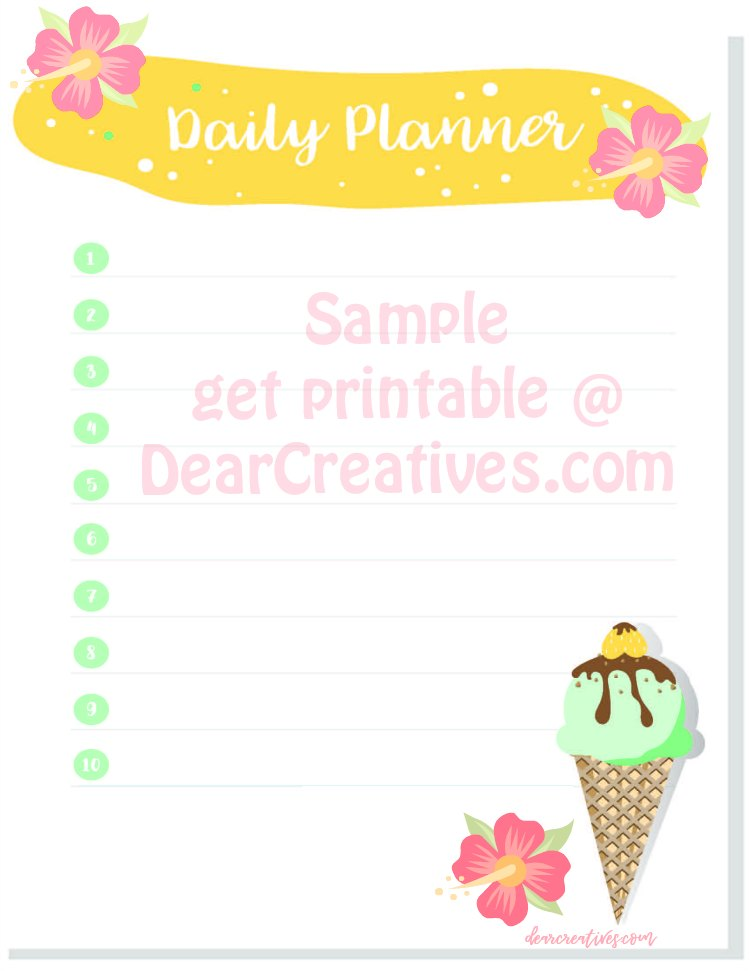 Daily Planner Sheet get free printable without over lay at DearCreatives.com #dailyplannerprintable #dailyplanner #freeprintable