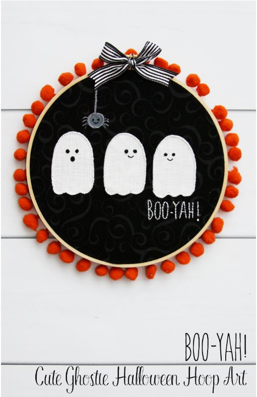 Ghost Halloween Hoop Art Wreath via flamingotoes