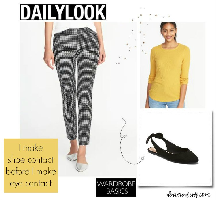 Outfit ideas - outfit of the day - ankle pant, sweater top and slingback ballet flats DearCreatives.com #fall #fashions #whattowear #dailylook